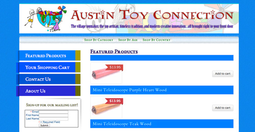 Austin Toy Connection, ecommerce site for toy seller, built in 24 hours