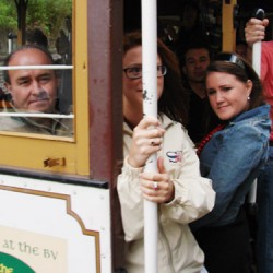 Cable car riders, San Francisco